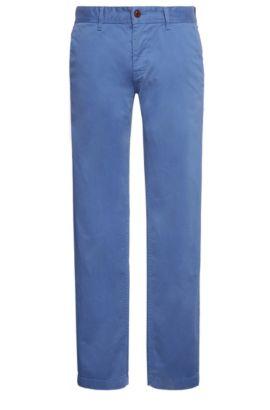 Slim-fit chino van geborstelde stretchkatoen, Lichtblauw