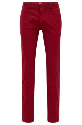 Slim-fit chinos in brushed stretch cotton, Red