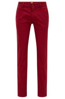 Chino Slim Fit en coton stretch brossé, Rouge
