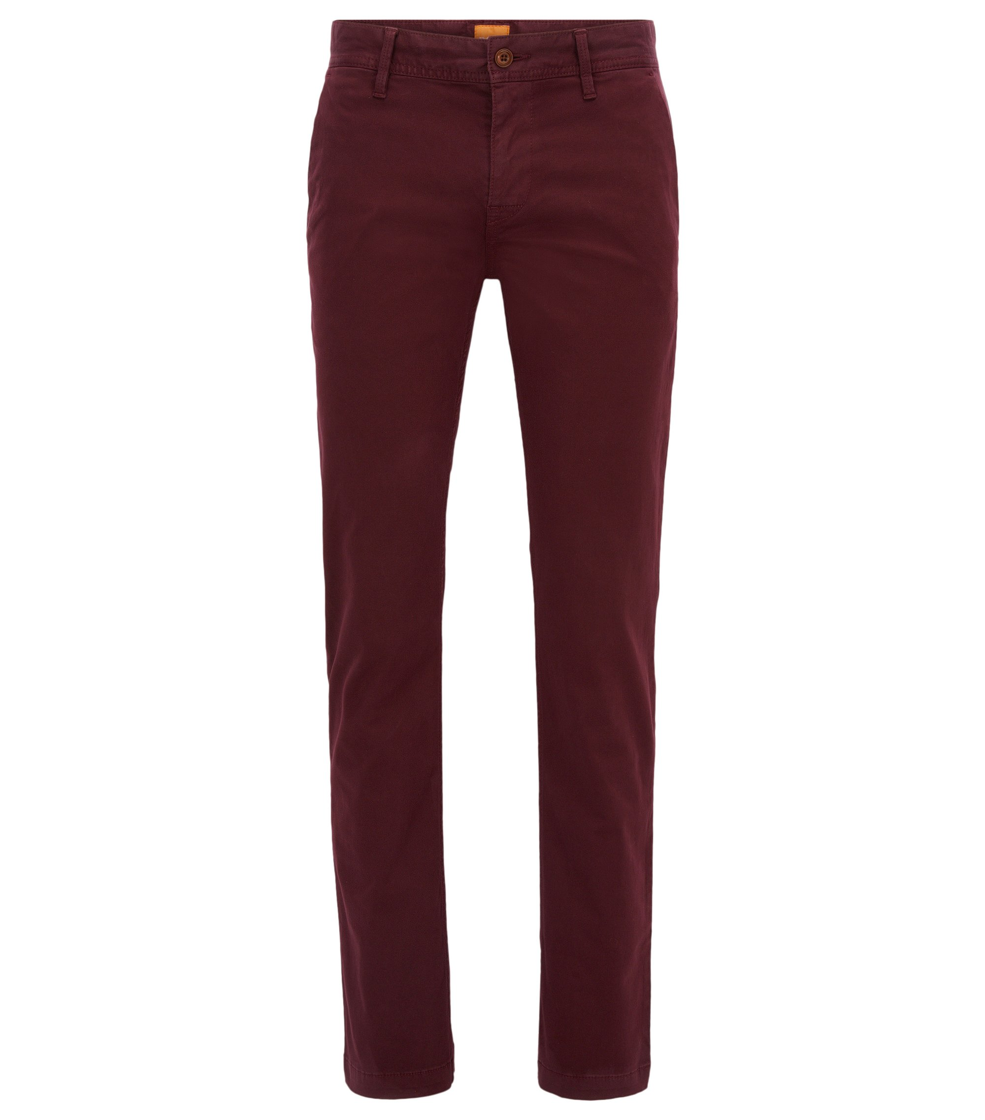 Chino Slim Fit en coton stretch brossé, Rouge sombre