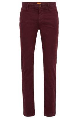 Slim-Fit Chino aus angerauter Stretch-Baumwolle, Dunkelrot