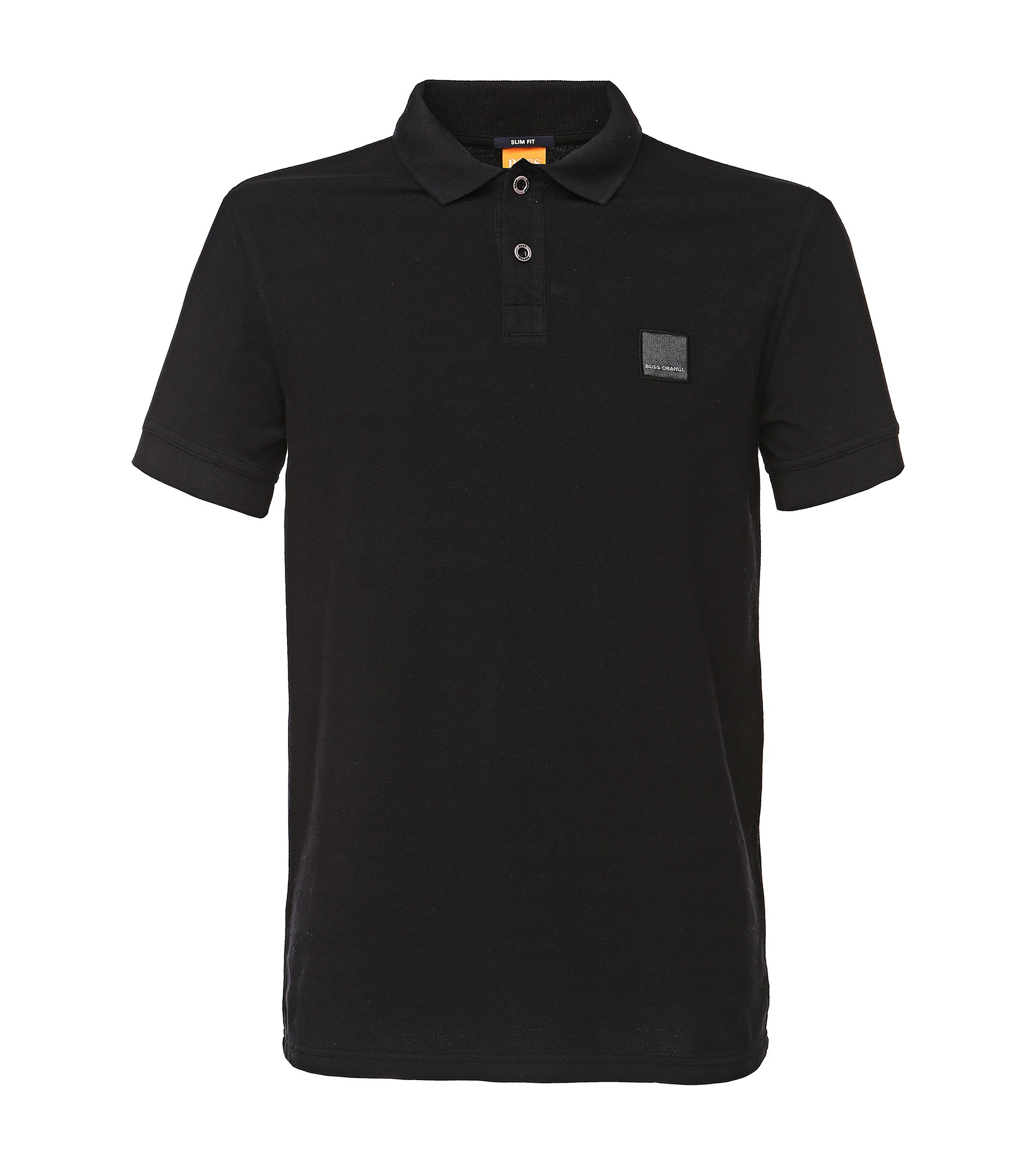 Slim-fit polo shirt in washed cotton, Black