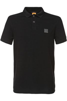Polo Slim Fit en coton lavé, Noir
