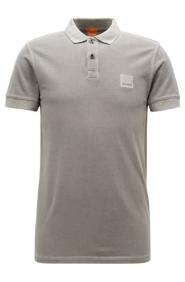 Polo Slim Fit en coton lavé, Gris