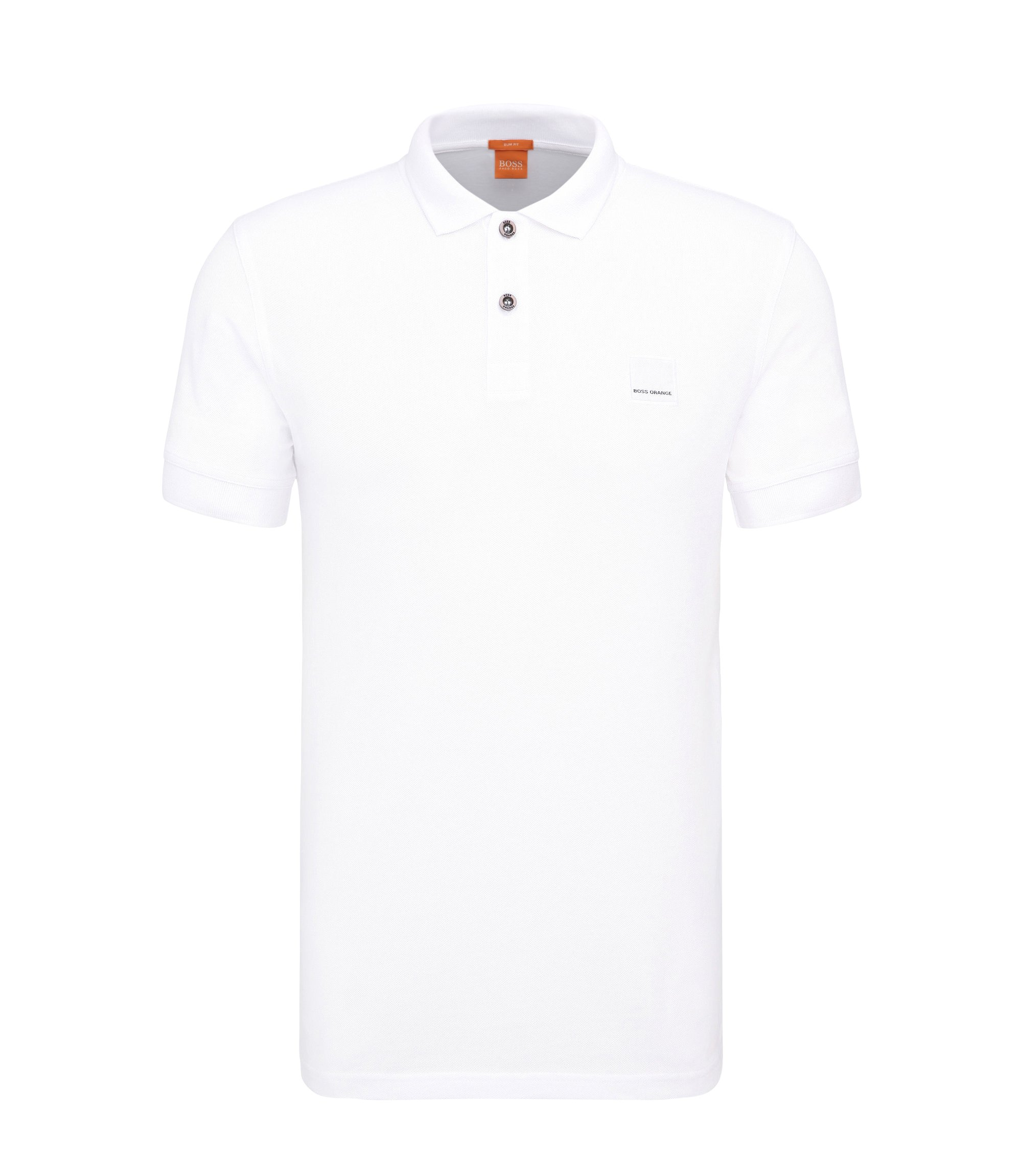 Slim-fit polo shirt in washed cotton, White