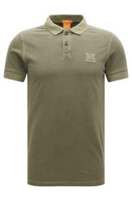 Slim-fit polo shirt in washed cotton, Green