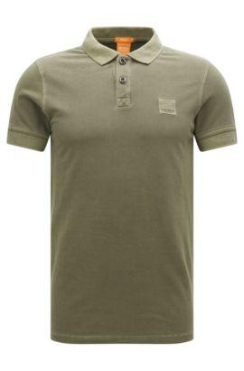 Slim-Fit Poloshirt aus gewaschener Baumwolle, Grün