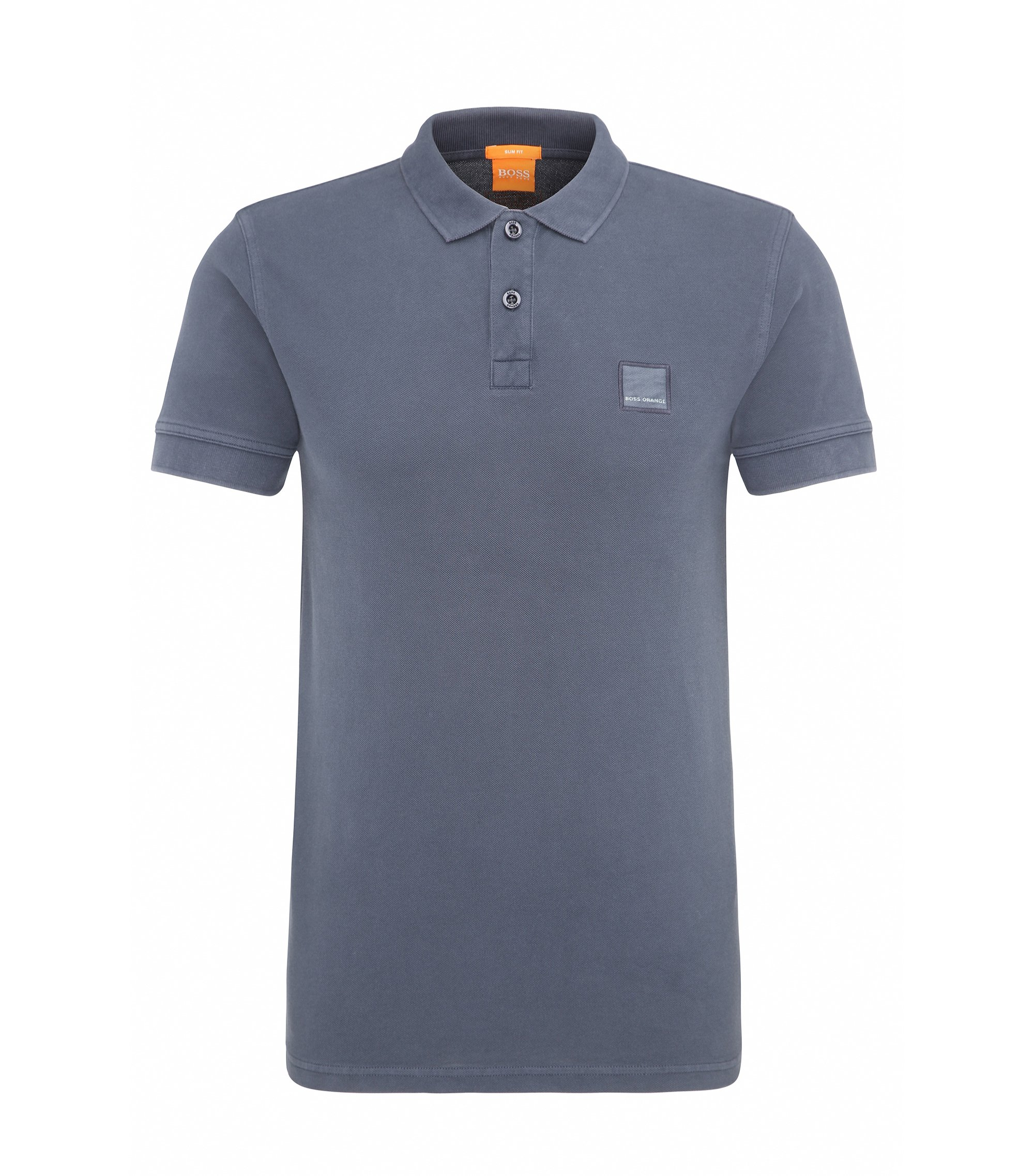 Polo slim fit in cotone slavato, Blu scuro