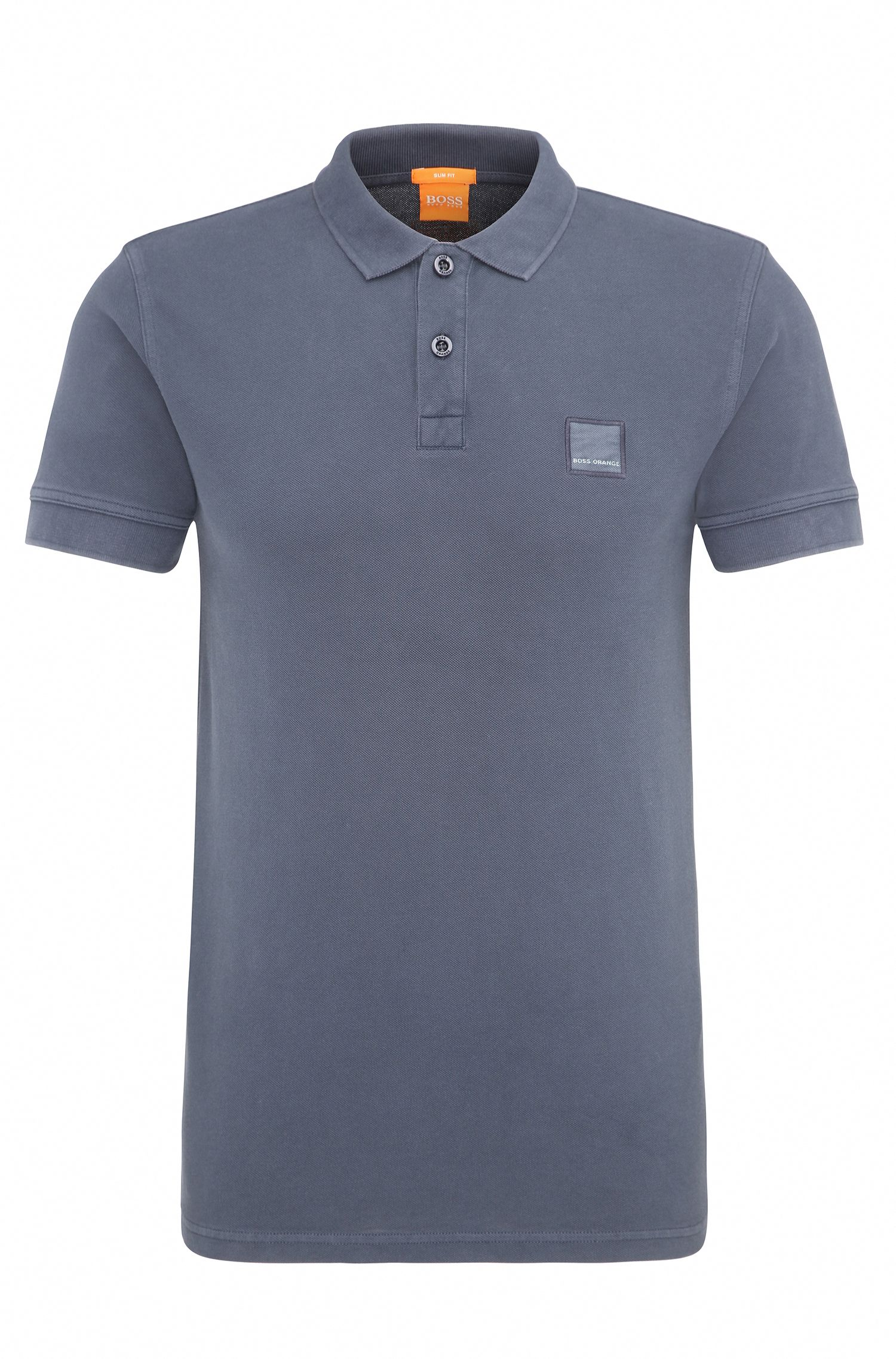 Slim-Fit Poloshirt aus gewaschener Baumwolle