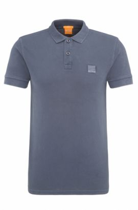 Slim-fit polo shirt in washed cotton, Dark Blue
