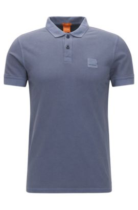 Polo Slim Fit en coton lavé, Bleu