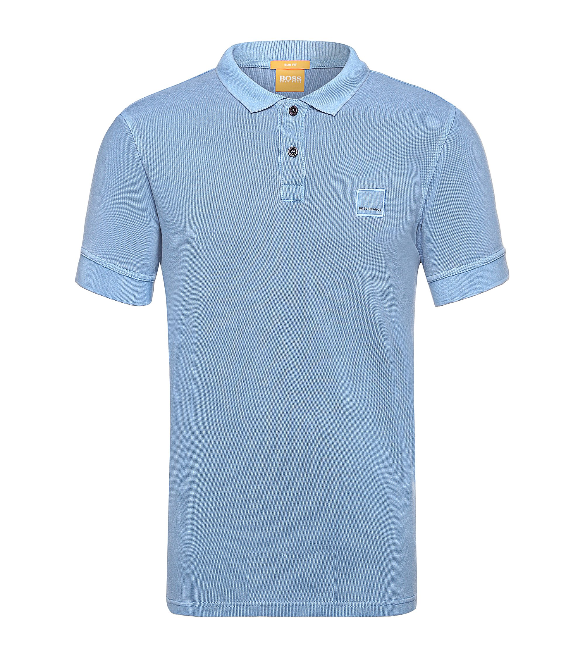 Slim-fit polo shirt in washed cotton, Light Blue