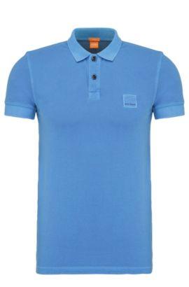 Polo Slim Fit en coton lavé, Bleu
