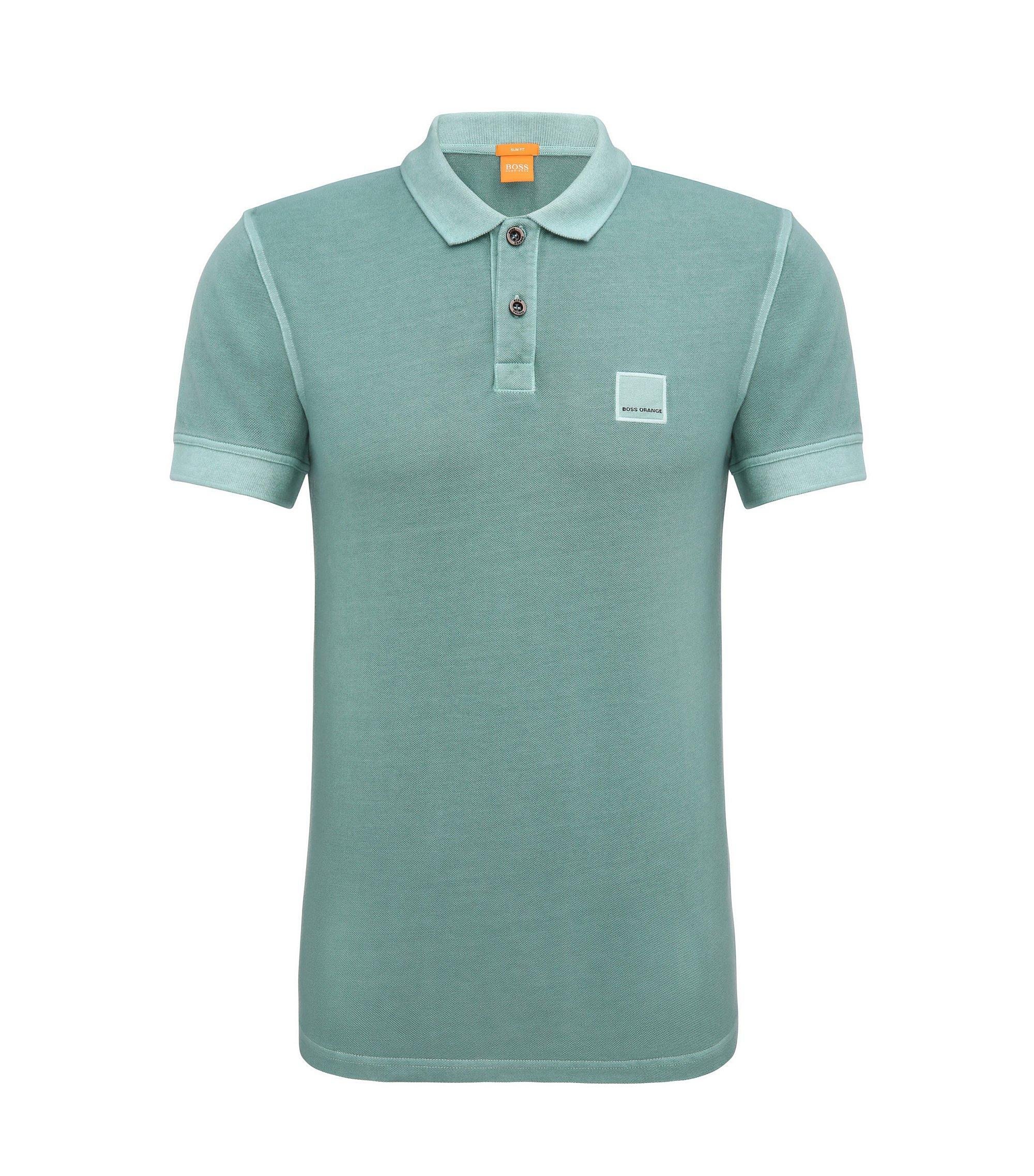 Slim-Fit Poloshirt aus gewaschener Baumwolle, Türkis