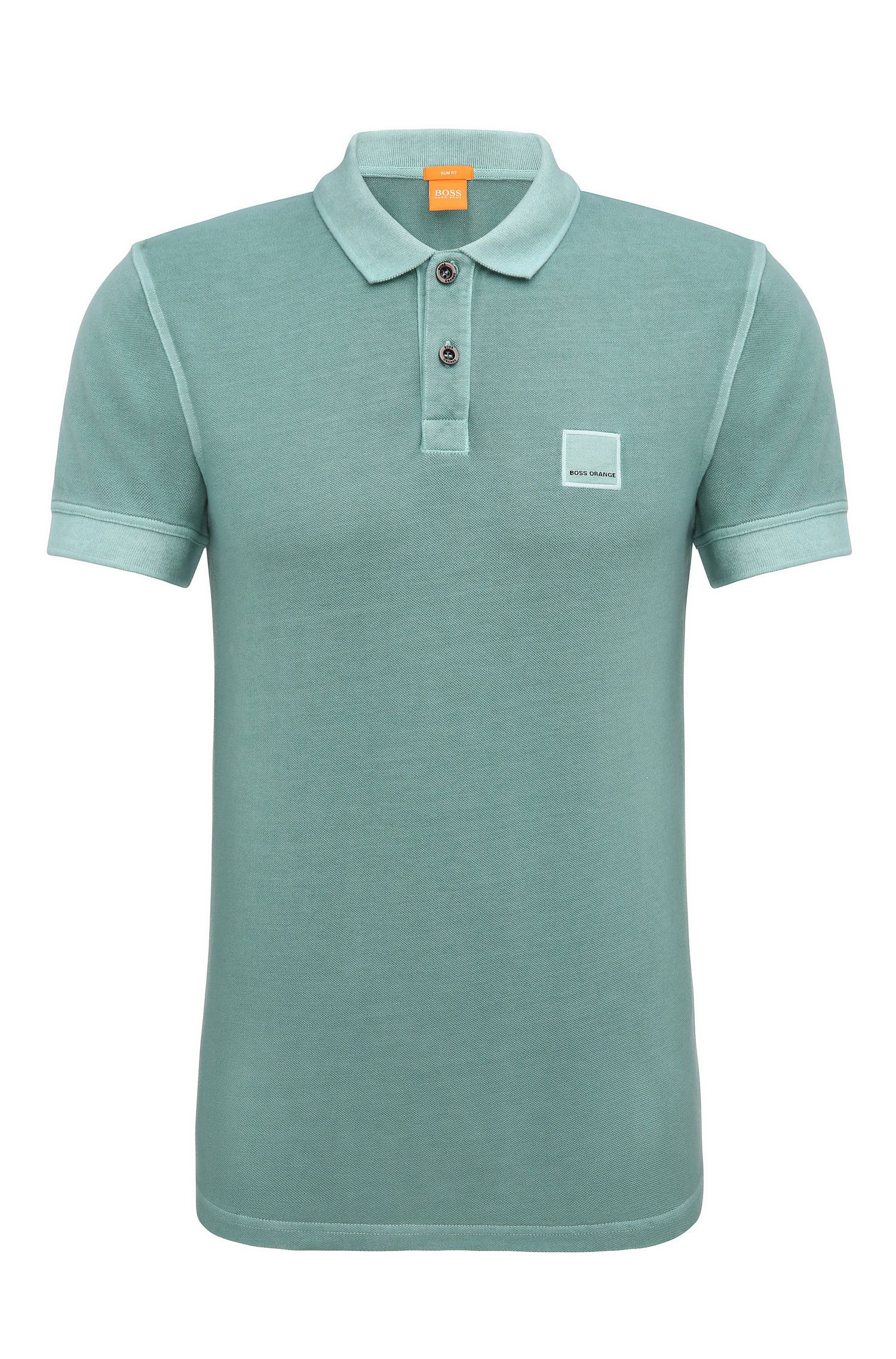Slim-fit polo shirt in washed cotton