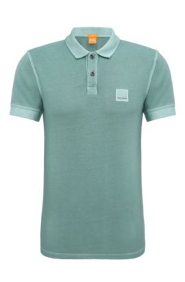 Slim-fit polo shirt in washed cotton, Turquoise
