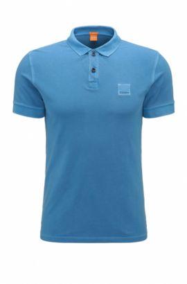 Slim-Fit Poloshirt aus gewaschener Baumwolle, Blau