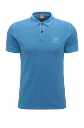 Slim-fit polo shirt in washed cotton, Blue
