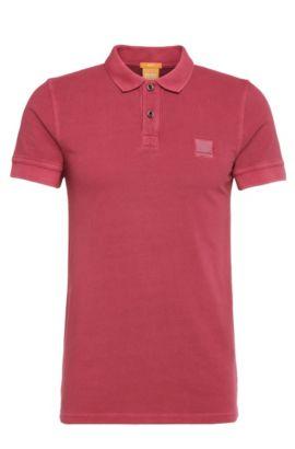 Slim-Fit Poloshirt aus gewaschener Baumwolle, Rot