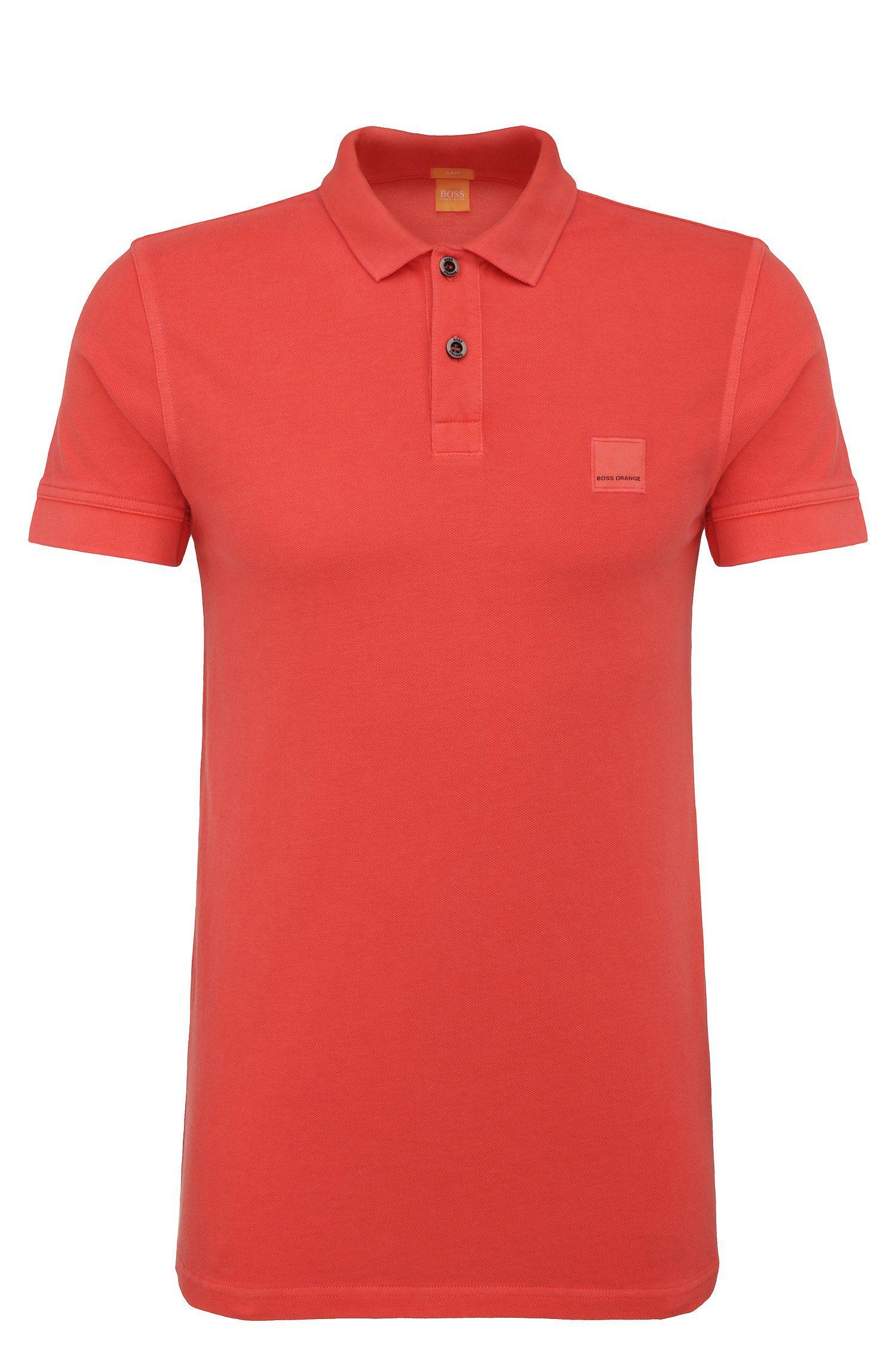 Polo BOSS Orange Slim Fit en coton lavé