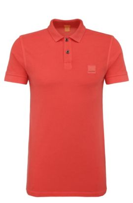 Polo Slim Fit en coton lavé, Rouge