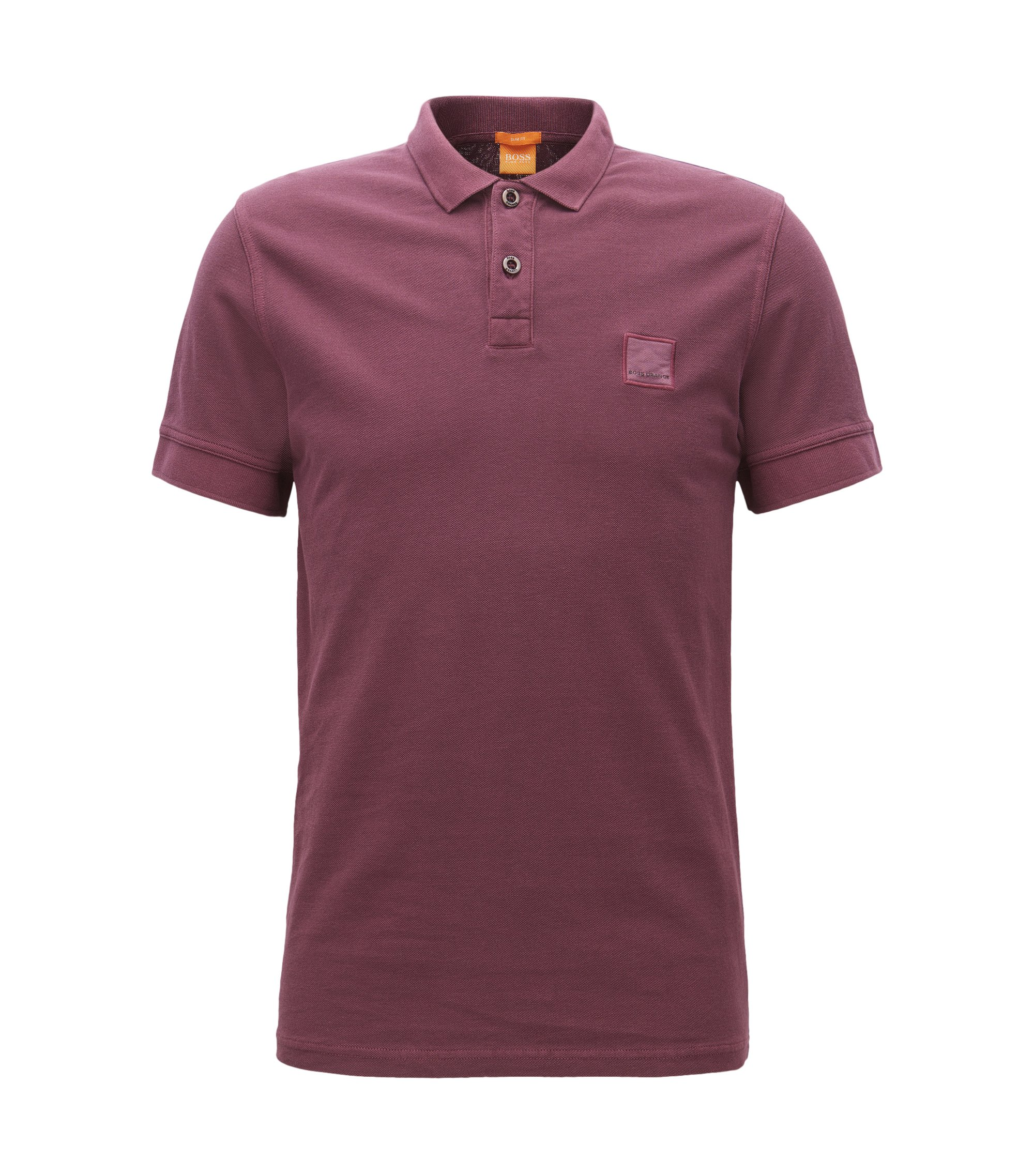 Slim-fit polo shirt in washed cotton, Dark Red