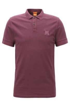 Polo Slim Fit en coton lavé, Rouge sombre