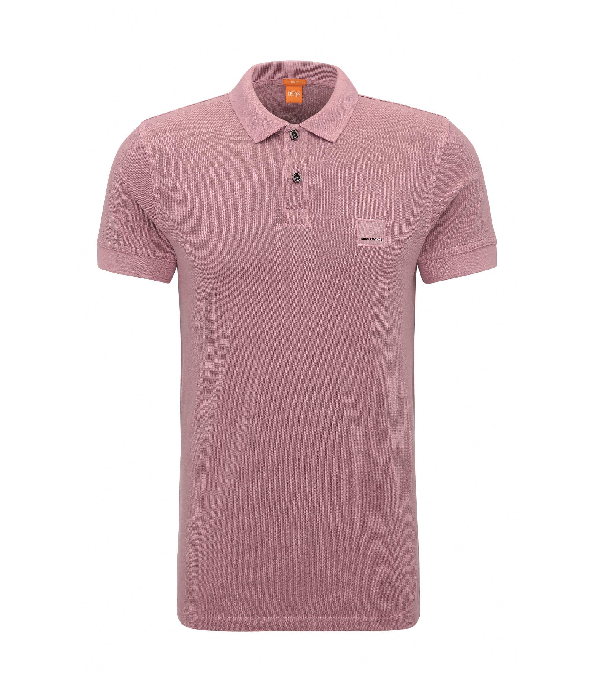 Slim-Fit Poloshirt aus gewaschener Baumwolle, Dunkelrosa