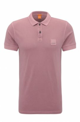 Slim-fit polo shirt in washed cotton, Dark pink