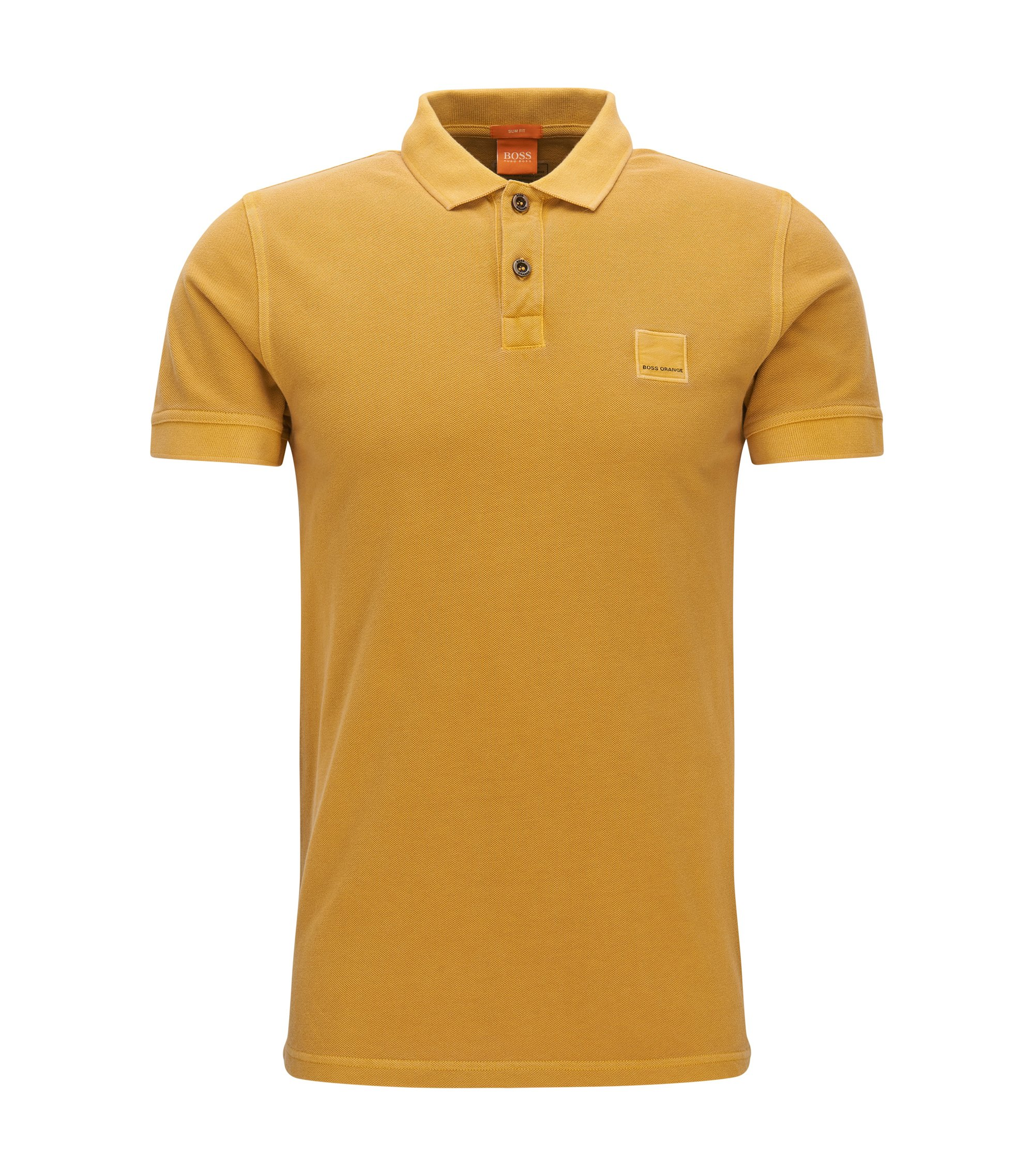 Polo Slim Fit en coton lavé, Jaune