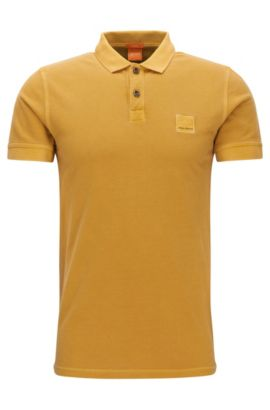 Slim-fit polo shirt in washed cotton, Yellow