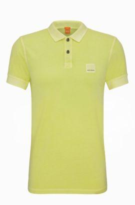 Slim-Fit Poloshirt aus gewaschener Baumwolle, Hellgelb