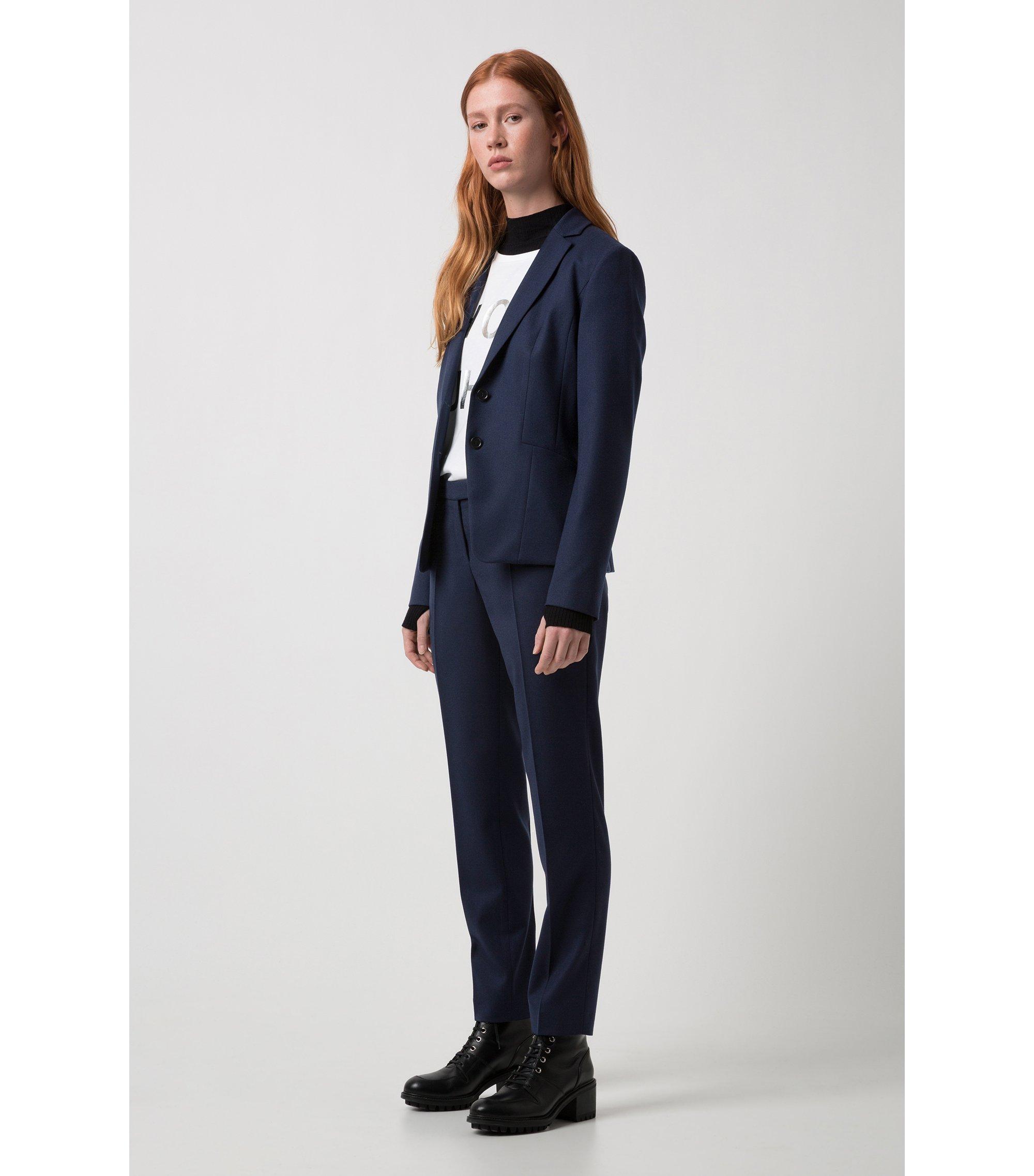 Slim-fit trousers in stretch new-wool blend: 'Harile-3', Dark Blue