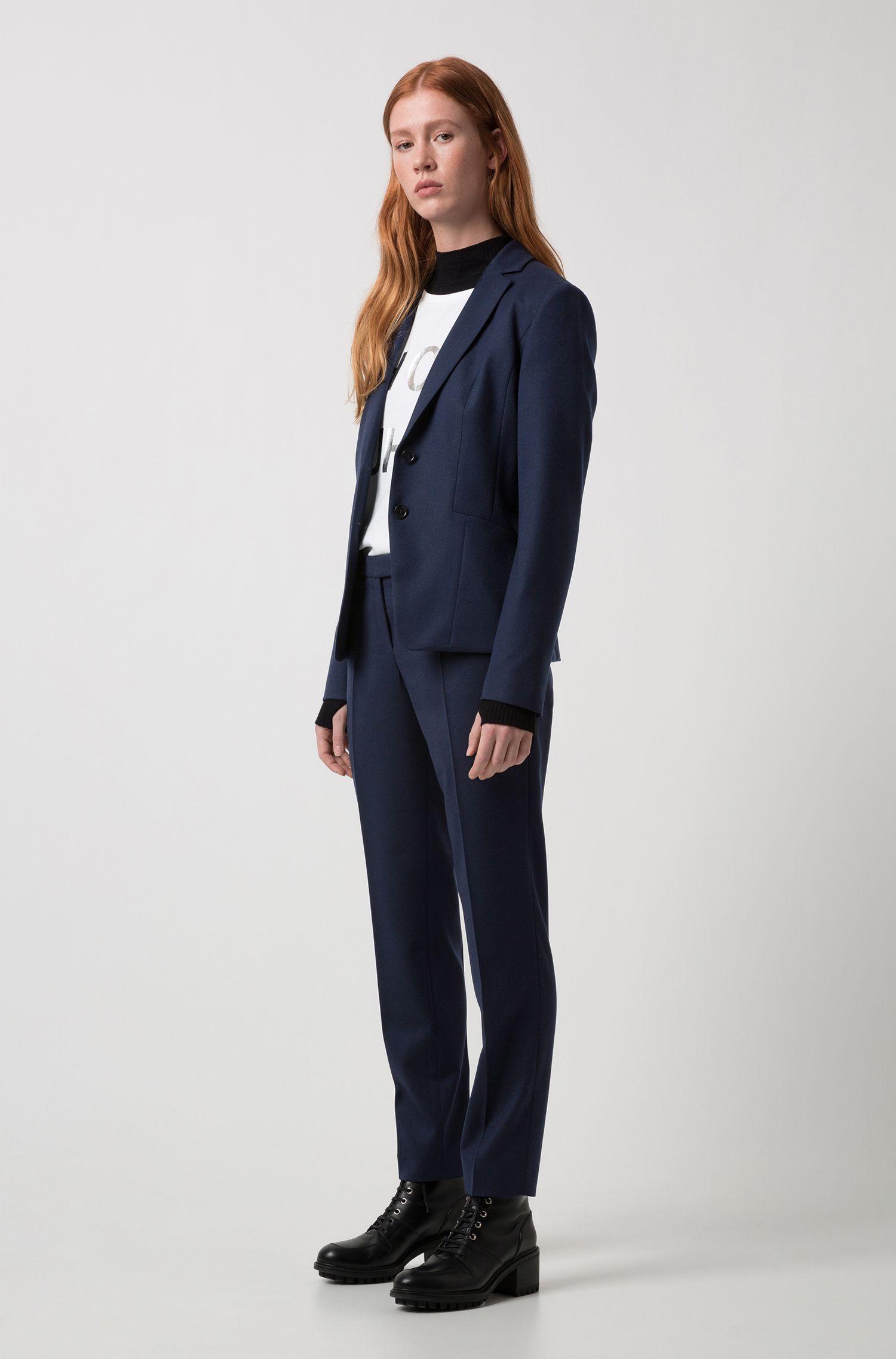 Pantalón slim fit en mezcla de lana virgen elástica: 'Harile-3'
