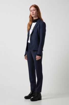 Slim-fit trousers in stretch new-wool blend: 'Harile-3', Dark Blue
