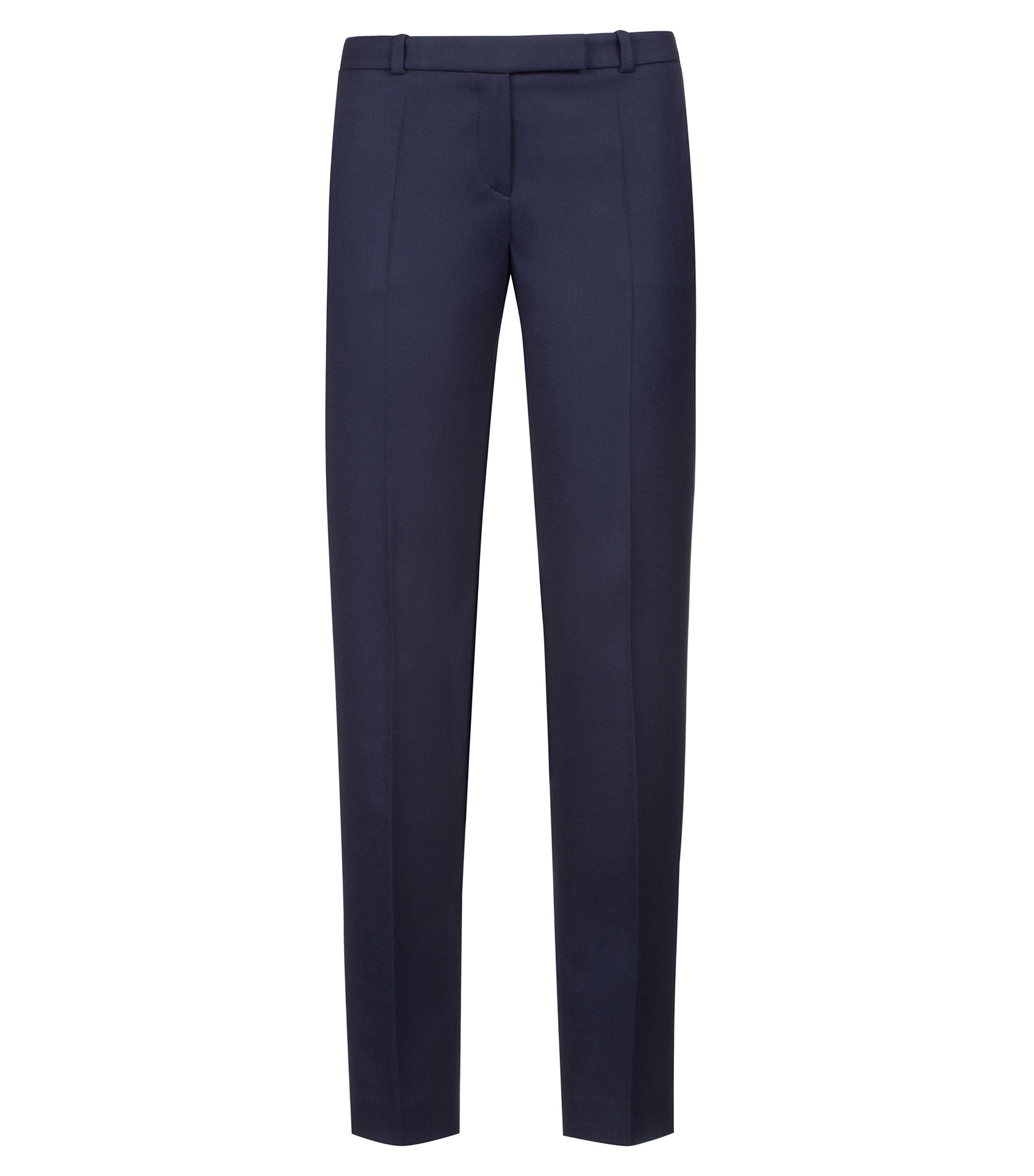 Regular-fit cigarette trousers in stretch virgin-wool flannel, Dark Blue