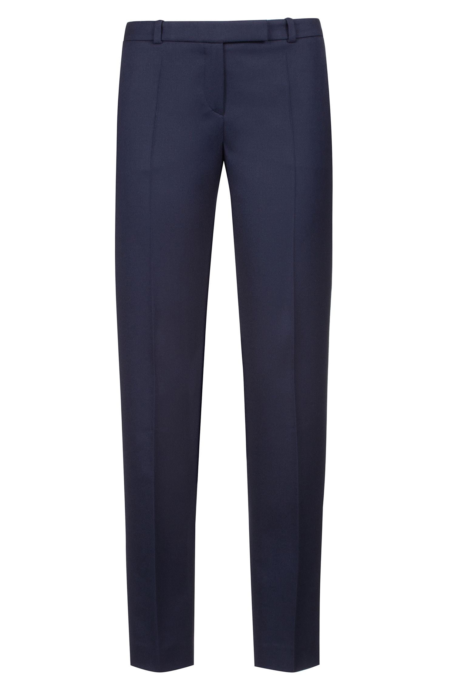 Pantalon cigarette Regular Fit en flanelle de laine vierge stretch