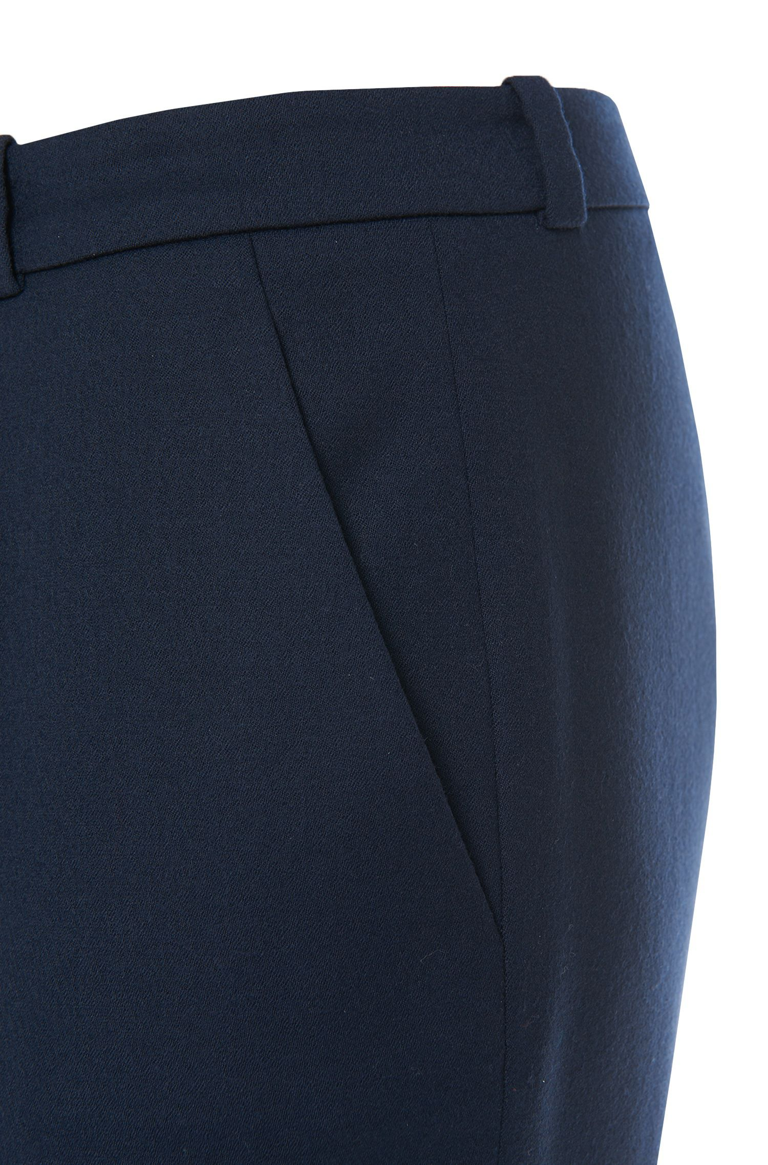 Regular-fit cigarette trousers in stretch virgin-wool flannel