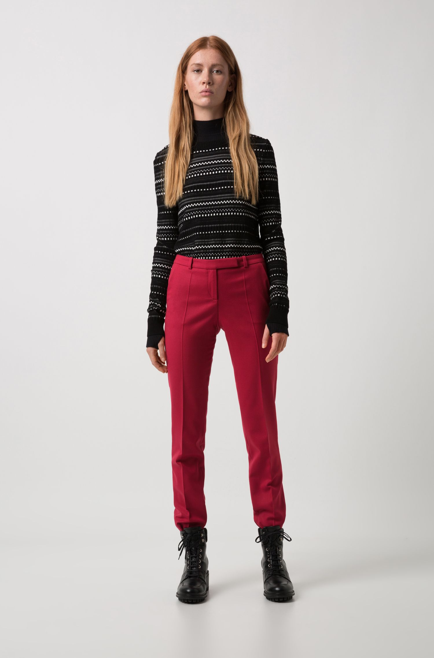 Regular-fit cigarette trousers in stretch virgin-wool flannel, Red