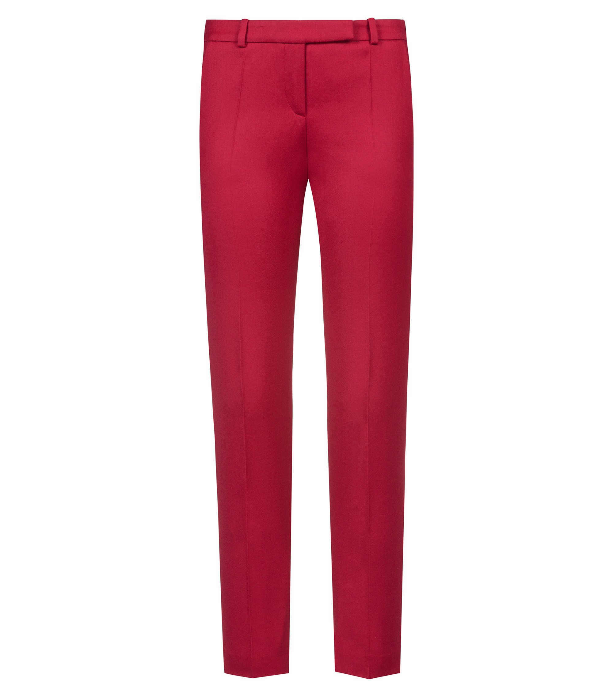 Pantalon cigarette Regular Fit en flanelle de laine vierge stretch, Rouge