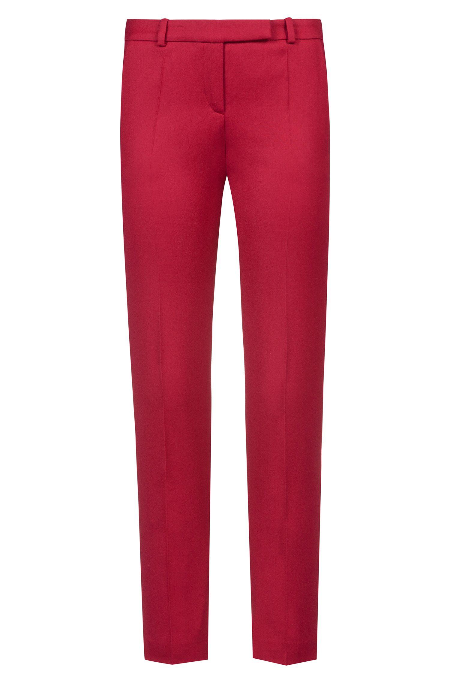 Pantalon cigarette Regular Fit en flanelle de laine vierge stretch, Rouge