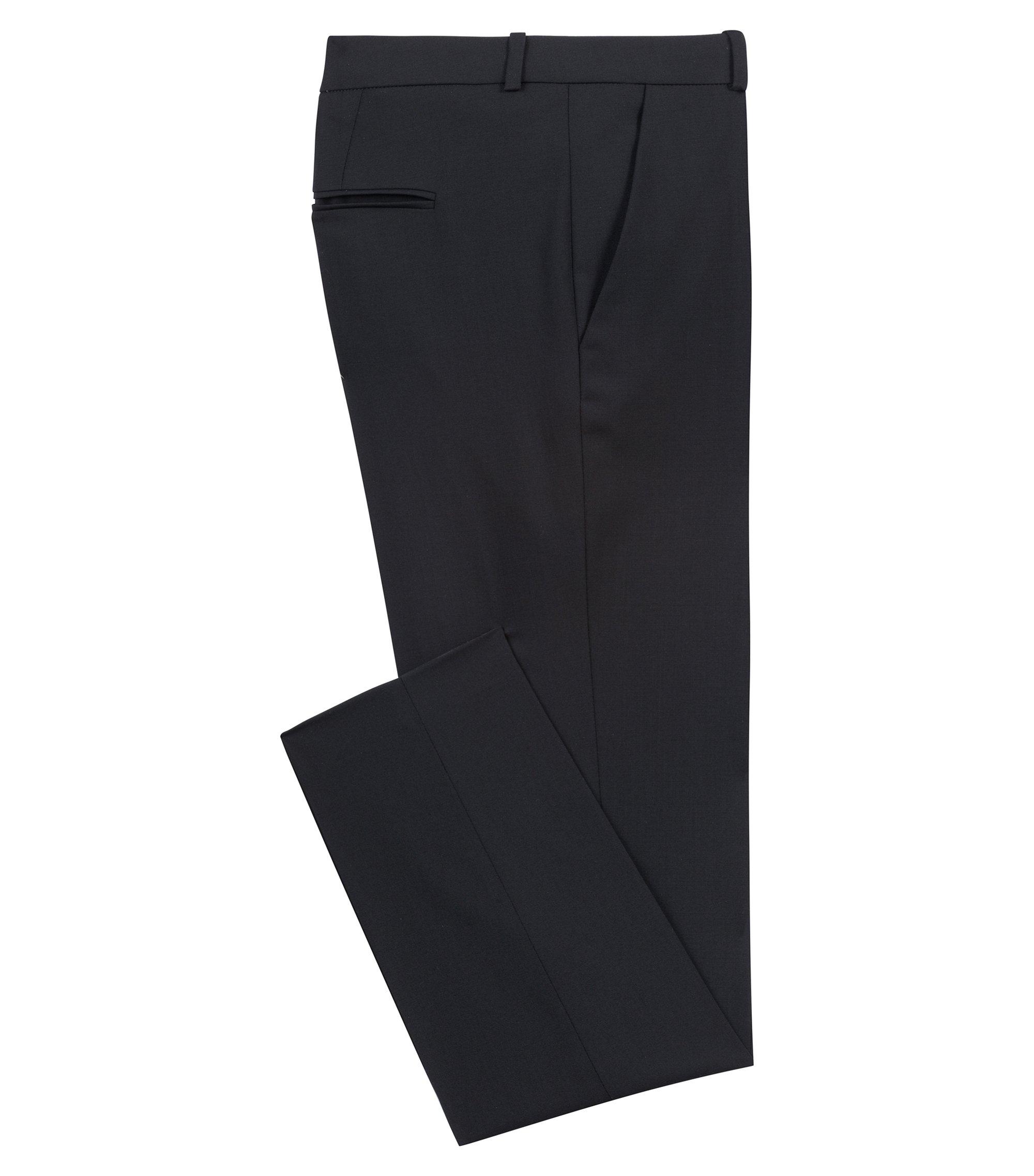 Regular-Fit Hose aus Stretch-Schurwolle , Schwarz