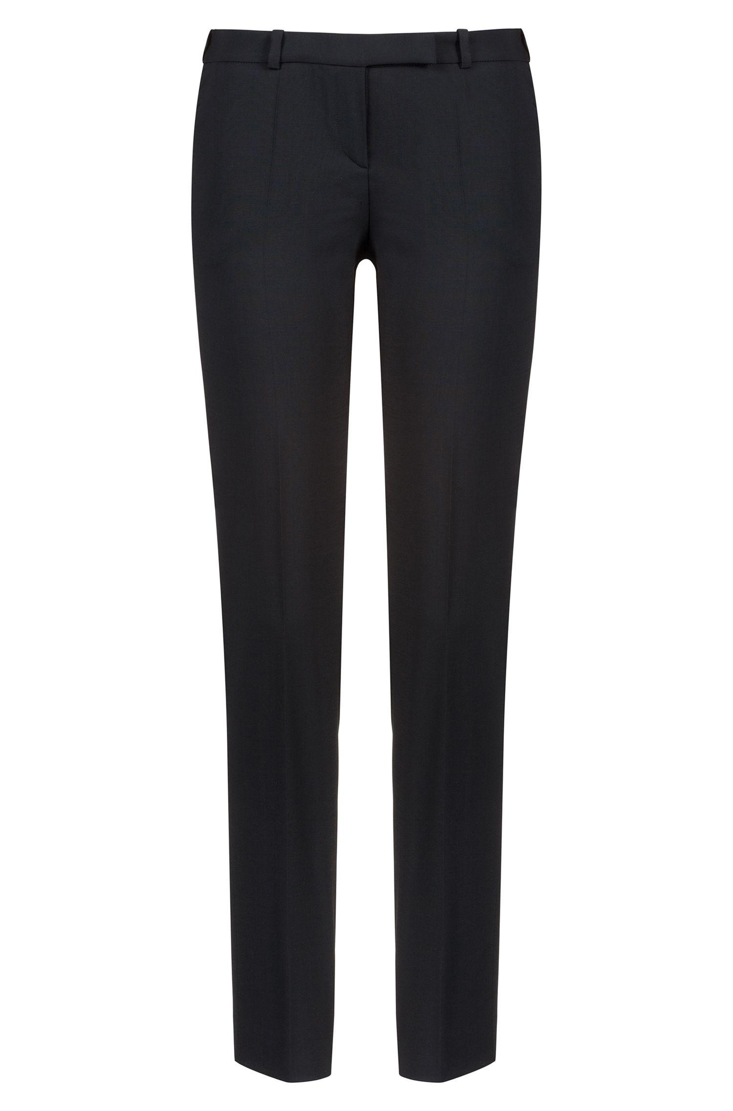 Pantalon Regular Fit en laine vierge stretch, Noir