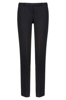 Regular-fit trousers in stretch virgin wool , Black