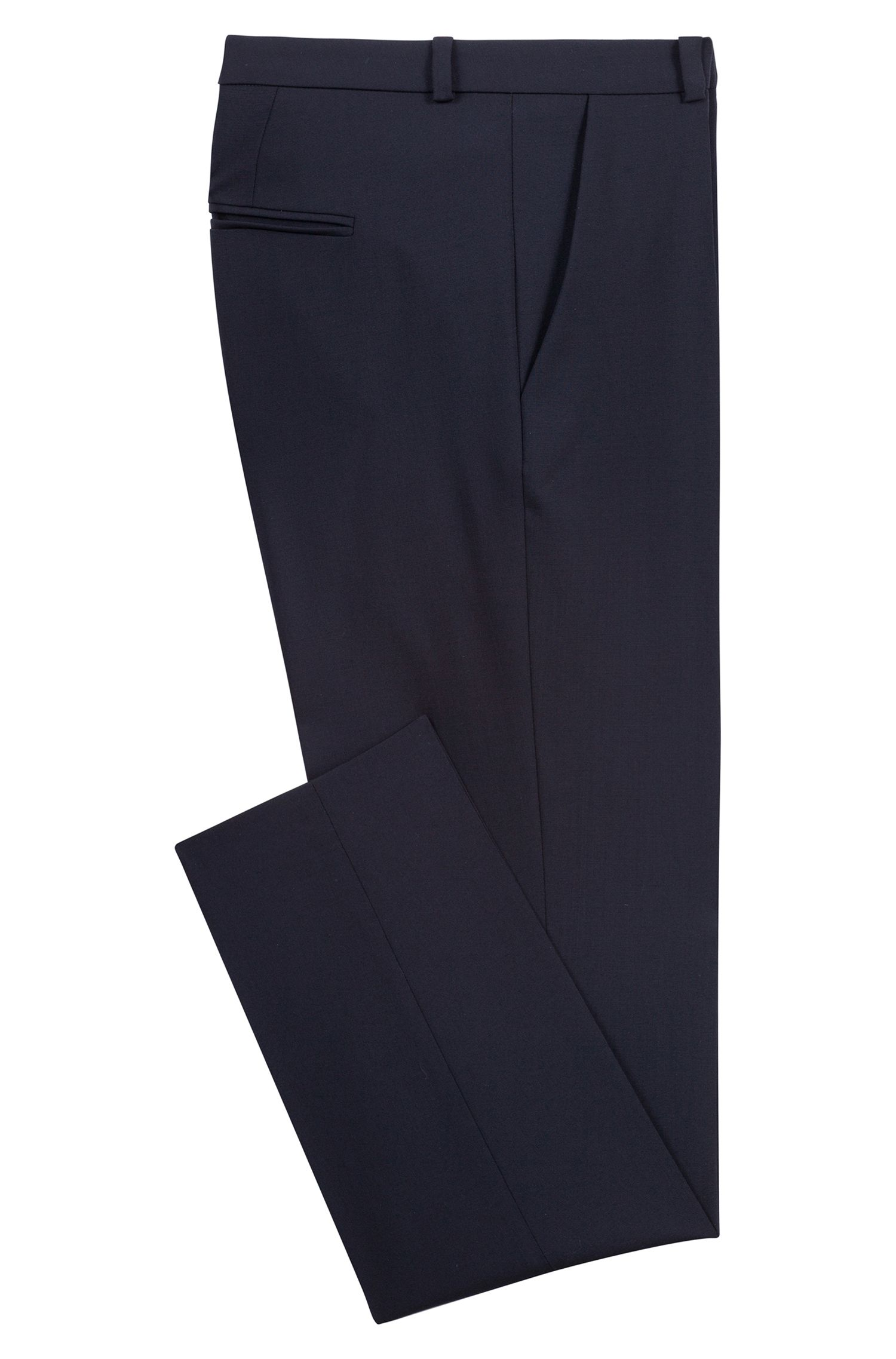 Pantaloni regular fit in lana vergine elasticizzata , Blu scuro