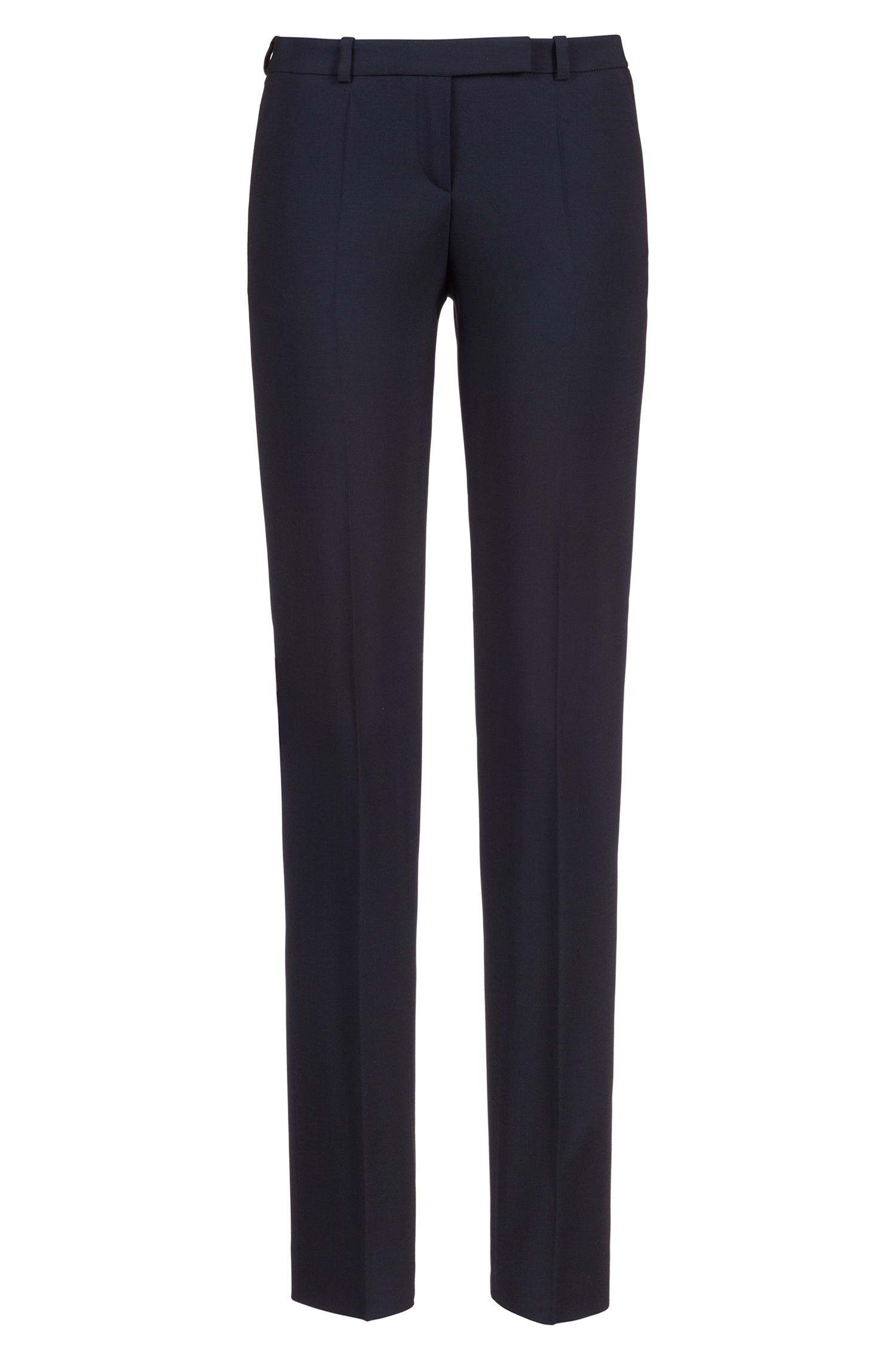 Regular-fit trousers in stretch virgin wool , Dark Blue