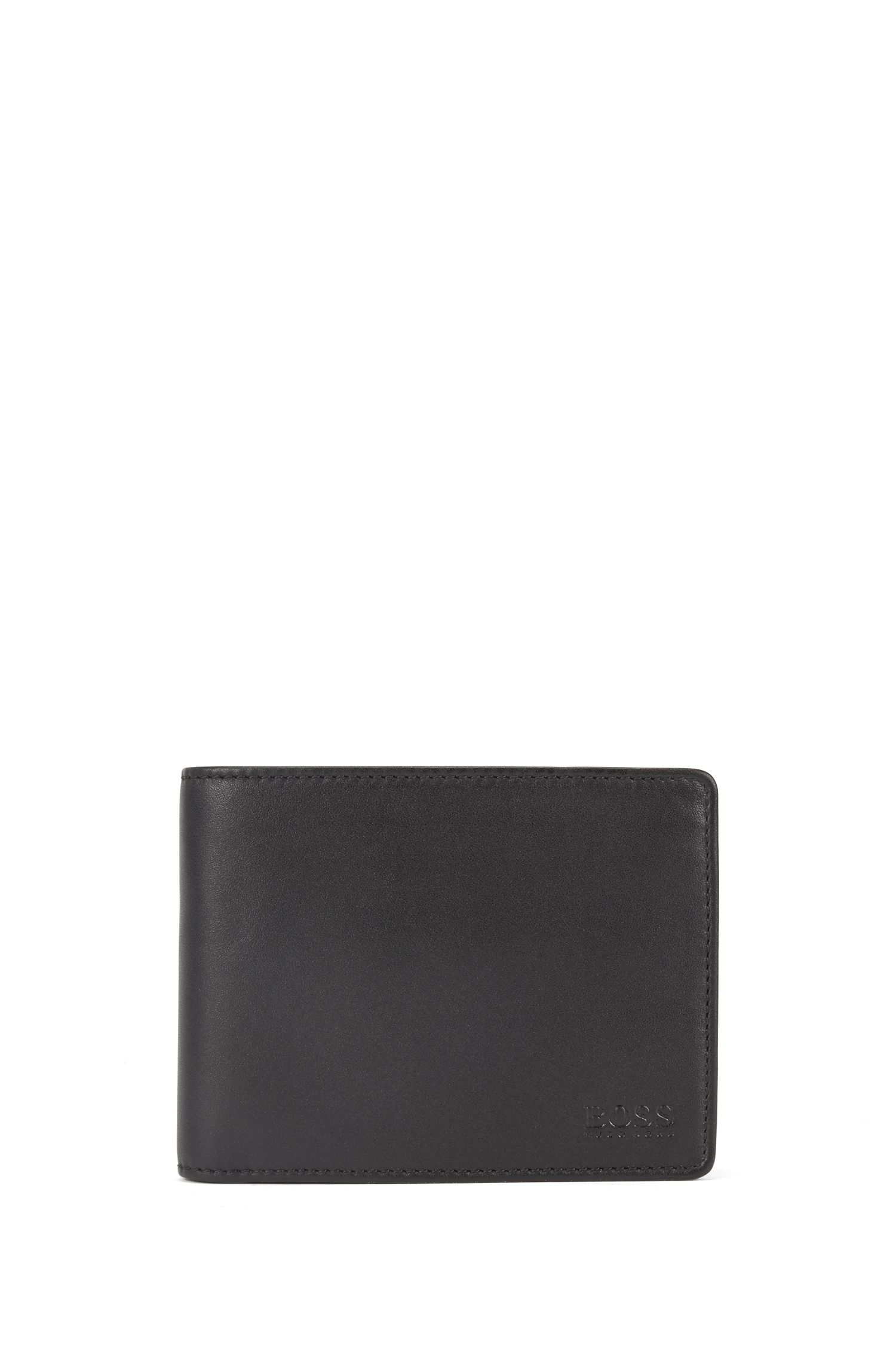 Trifold wallet in smooth leather, Black