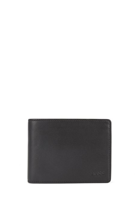 Smooth leather billfold wallet with coin pocket, Black