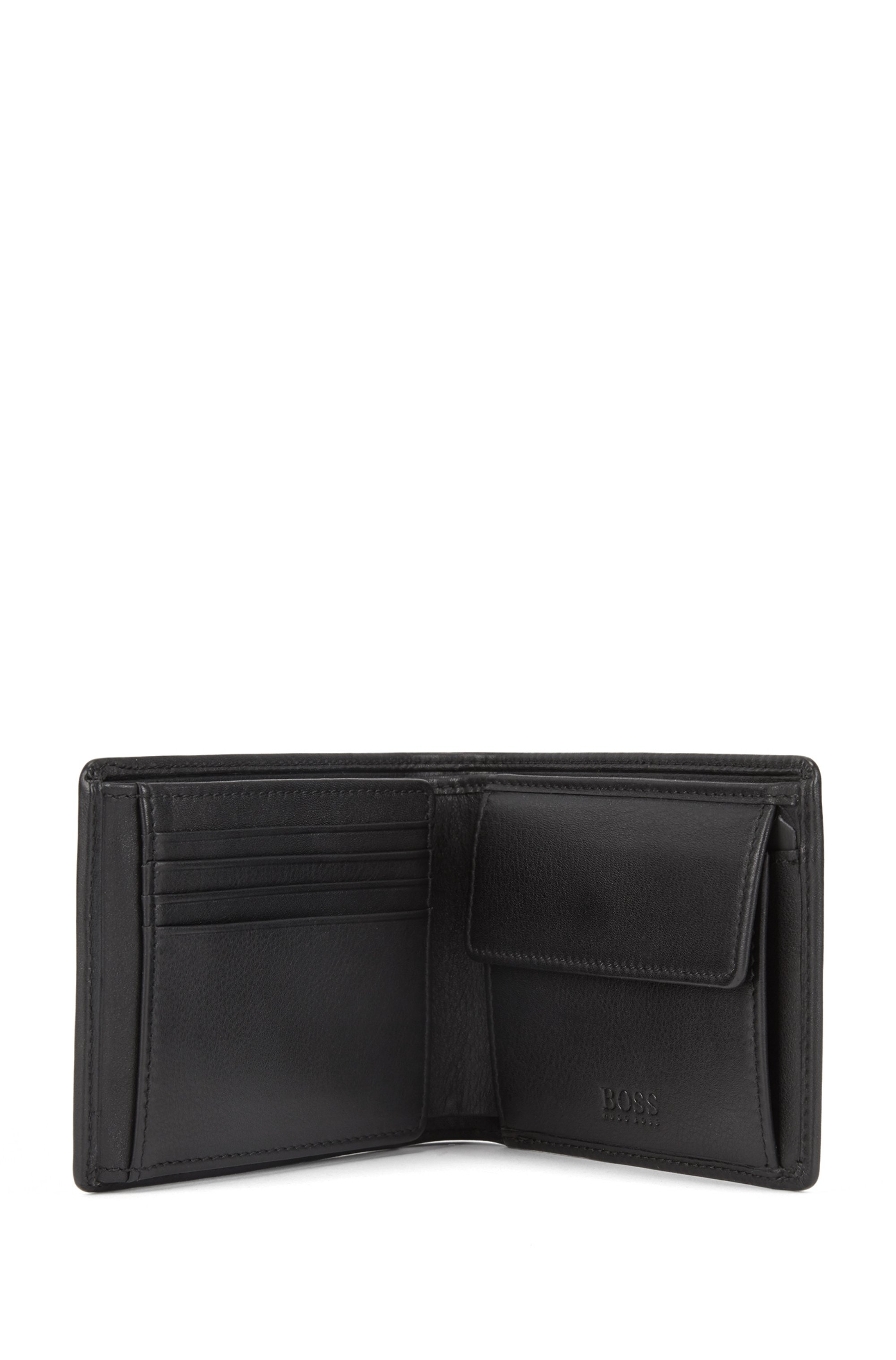 Smooth leather billfold wallet with coin pocket