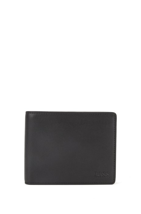 Billfold wallet in smooth leather with coin pocket, Black